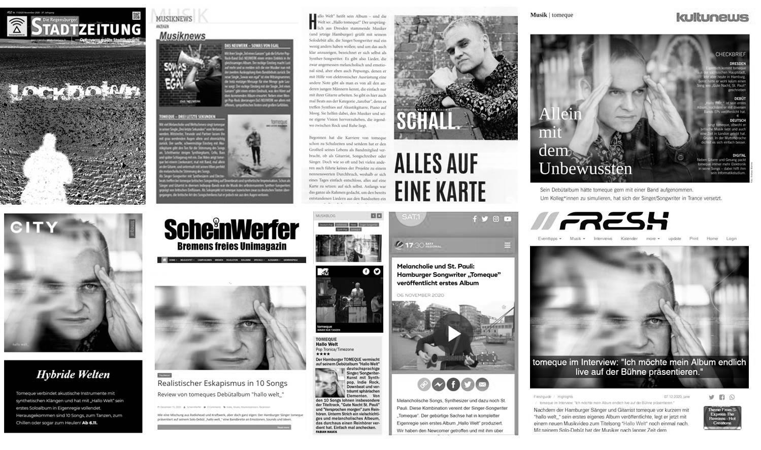 Snapshot-Collage zu tomeque und hallo welt_ in Presse, Blogs, Radio und TV